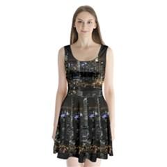 City At Night Lights Skyline Split Back Mini Dress