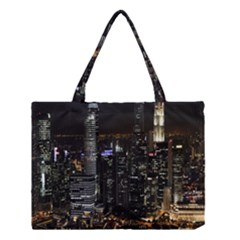 City At Night Lights Skyline Medium Tote Bag