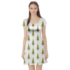 Christmas Tree Short Sleeve Skater Dress