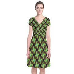 Computer Graphics Graphics Ornament Short Sleeve Front Wrap Dress