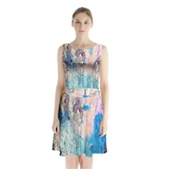 Peelingpaint Sleeveless Chiffon Waist Tie Dress