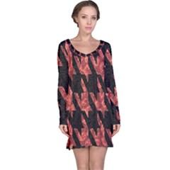 Dogstooth Pattern Closeup Long Sleeve Nightdress