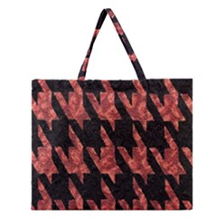 Dogstooth Pattern Closeup Zipper Large Tote Bag