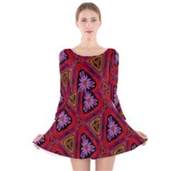 Computer Graphics Graphics Ornament Long Sleeve Velvet Skater Dress