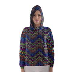 Decorative Ornamental Abstract Hooded Wind Breaker (Women)