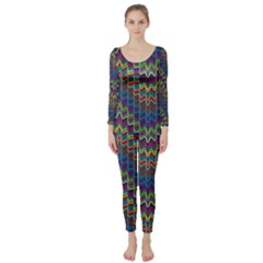 Decorative Ornamental Abstract Long Sleeve Catsuit