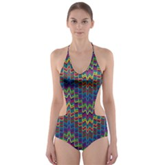 Decorative Ornamental Abstract Cut-Out One Piece Swimsuit