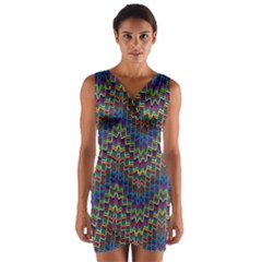 Decorative Ornamental Abstract Wrap Front Bodycon Dress
