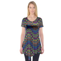 Decorative Ornamental Abstract Short Sleeve Tunic