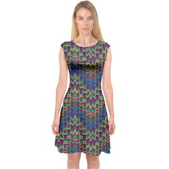 Decorative Ornamental Abstract Capsleeve Midi Dress