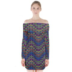 Decorative Ornamental Abstract Long Sleeve Off Shoulder Dress