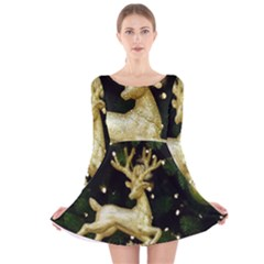 December Christmas Cologne Long Sleeve Velvet Skater Dress