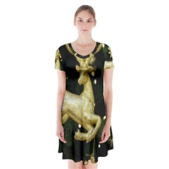 December Christmas Cologne Short Sleeve V-neck Flare Dress