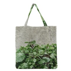 Plants Against Concrete Wall Background Grocery Tote Bag