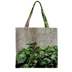 Plants Against Concrete Wall Background Zipper Grocery Tote Bag