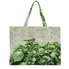 Plants Against Concrete Wall Background Large Tote Bag