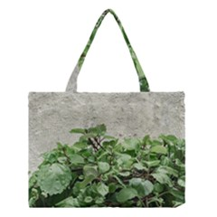 Plants Against Concrete Wall Background Medium Tote Bag