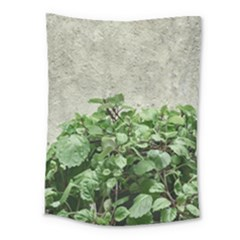 Plants Against Concrete Wall Background Medium Tapestry