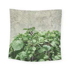 Plants Against Concrete Wall Background Square Tapestry (small)
