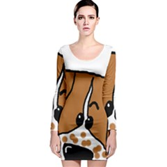 Peeping Brittany Spaniel Long Sleeve Bodycon Dress