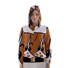 Peeping Brittany Spaniel Hooded Wind Breaker (Women)