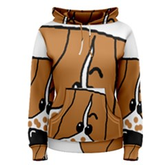 Peeping Brittany Spaniel Women s Pullover Hoodie
