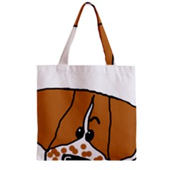 Peeping Brittany Spaniel Zipper Grocery Tote Bag