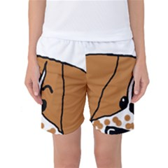 Peeping Brittany Spaniel Women s Basketball Shorts