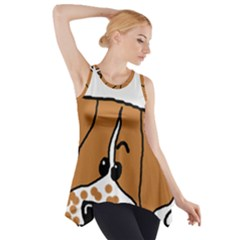 Peeping Brittany Spaniel Side Drop Tank Tunic
