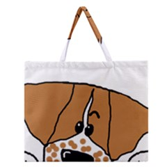 Peeping Brittany Spaniel Zipper Large Tote Bag