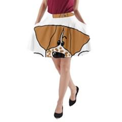 Peeping Brittany Spaniel A-Line Pocket Skirt
