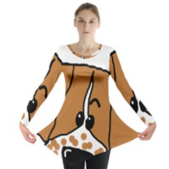 Peeping Brittany Spaniel Long Sleeve Tunic