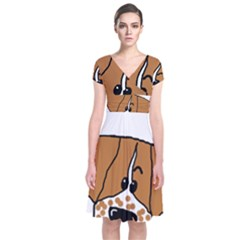 Peeping Brittany Spaniel Short Sleeve Front Wrap Dress