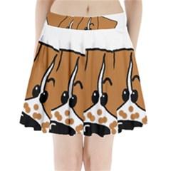 Peeping Brittany Spaniel Pleated Mini Skirt