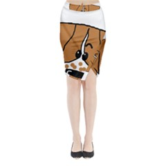 Peeping Brittany Spaniel Midi Wrap Pencil Skirt