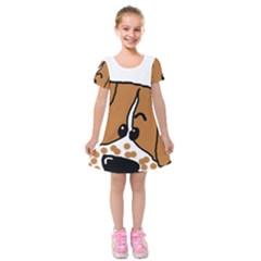 Peeping Brittany Spaniel Kids  Short Sleeve Velvet Dress