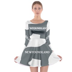 Newfie Name Silo Grey Long Sleeve Skater Dress