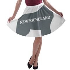 Newfie Name Silo Grey A-line Skater Skirt