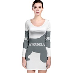 Newfie Name Silo Grey Long Sleeve Velvet Bodycon Dress