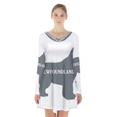 Newfie Name Silo Grey Long Sleeve Velvet V-neck Dress