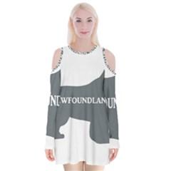 Newfie Name Silo Grey Velvet Long Sleeve Shoulder Cutout Dress