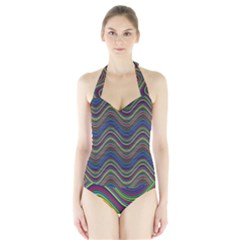 Decorative Ornamental Abstract Halter Swimsuit