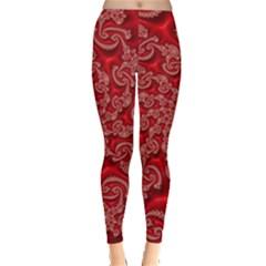 Fractal Art Elegant Red Leggings