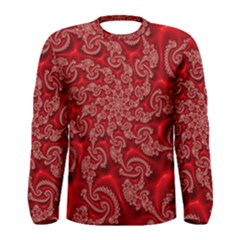 Fractal Art Elegant Red Men s Long Sleeve Tee