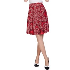 Fractal Art Elegant Red A-Line Skirt