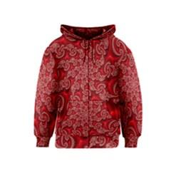 Fractal Art Elegant Red Kids  Zipper Hoodie