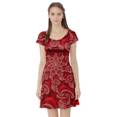 Fractal Art Elegant Red Short Sleeve Skater Dress