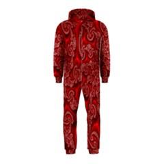 Fractal Art Elegant Red Hooded Jumpsuit (Kids)