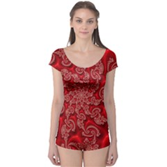 Fractal Art Elegant Red Boyleg Leotard