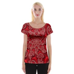 Fractal Art Elegant Red Women s Cap Sleeve Top